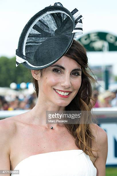 Sandra Challal winner of 'Hat Contest 2015' attends the 'Prix de Diane Longines 2015' at Hippodrome de Chantilly on June 14 2015 in Chantilly France