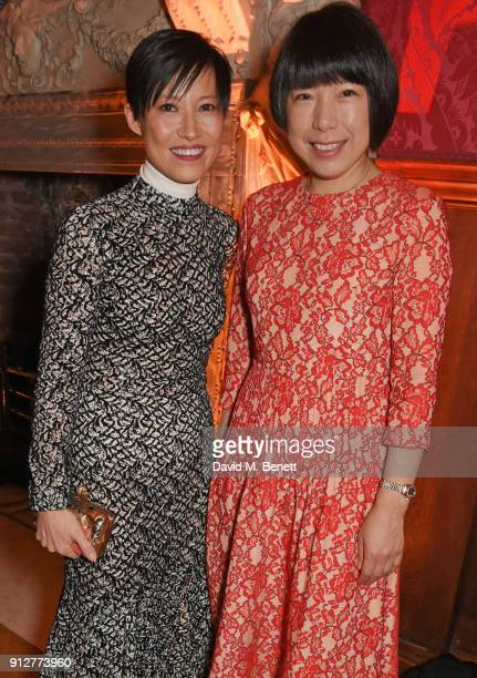 Sandra Choi and Angelica Cheung attend Wendy Yu's Chinese New Year Celebration at Kensington Palace on January 31 2018 in London United Kingdom