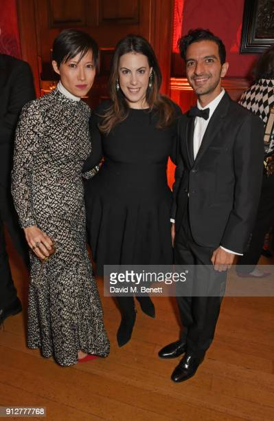 Sandra Choi Mary Katrantzou and Imran Amed attend Wendy Yu's Chinese New Year Celebration at Kensington Palace on January 31 2018 in London United...