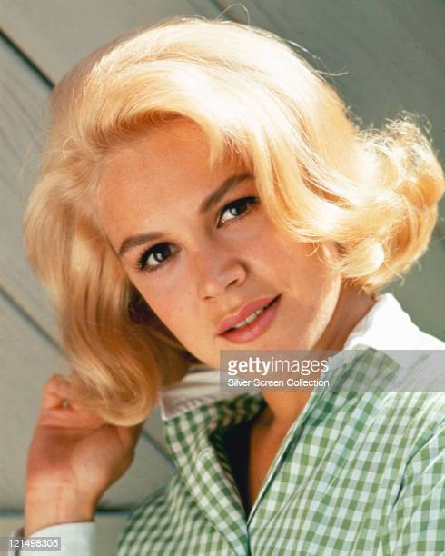 Sandra Dee US actress wearing a green gingham blouse circa 1965