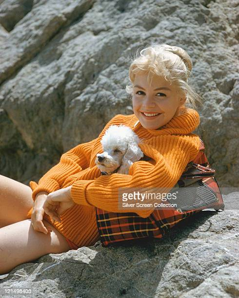 Sandra Dee US actress wearing an orange woollen jumper posing on a rock with a small poodle in a tartan bag circa 1965