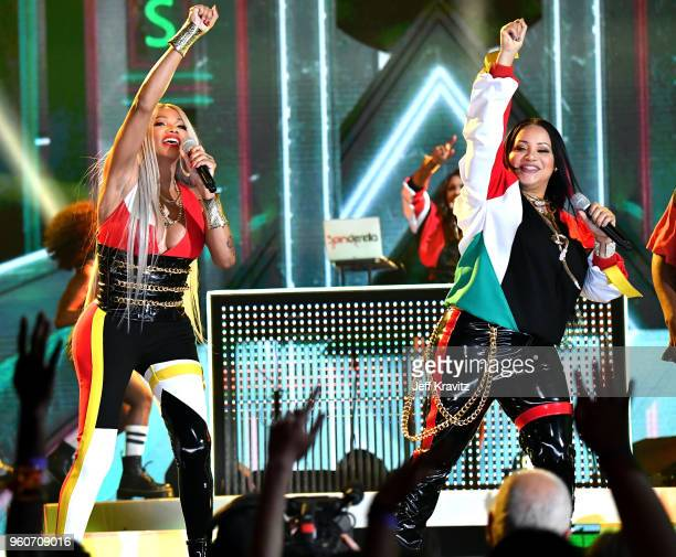 Sandra Denton and Cheryl James of musical group Salt-N-Pepa perform onstage during the 2018 Billboard Music Awards at MGM Grand Garden Arena on May...