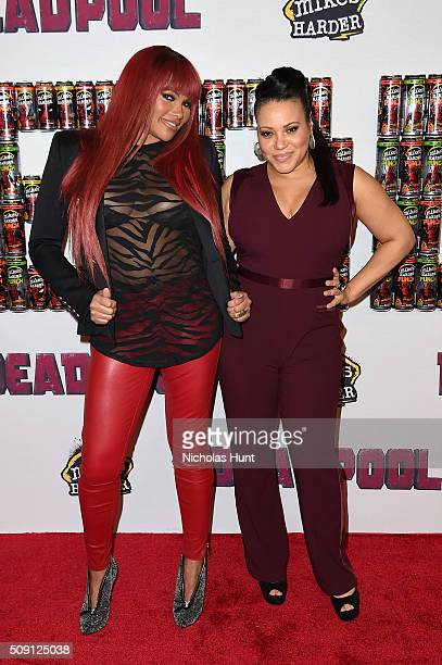 Sandra Denton and Cheryl James of rap group SaltNPepa attend the Deadpool fan event at AMC Empire Theatre on February 8 2016 in New York City
