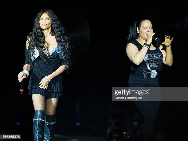 Sandra Denton and Cheryl James of Salt-N-Pepa perform during I Love The 90's Tour at BB&T Pavilion on August 6, 2016 in Camden, New Jersey.