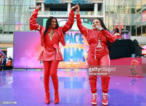 """Sandra Denton and Cheryl James of Salt-N-Pepa perform onstage during the premiere of Warner Bros """"Space Jam: A New Legacy"""" at Regal LA Live on July..."""