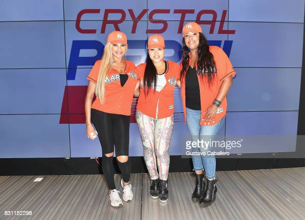 Sandra Denton and Cheryl James of SaltNPepa with DJ Spinderella attend The Crystal Pepsi Throwback Tour At Marlin's Park on August 13 2017 in Miami...