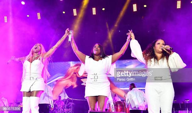 Sandra Denton DJ Spinderella and Cheryl James of musical group SaltNPepa perform onstage during the 2018 Essence Festival Day 2 at Louisiana...