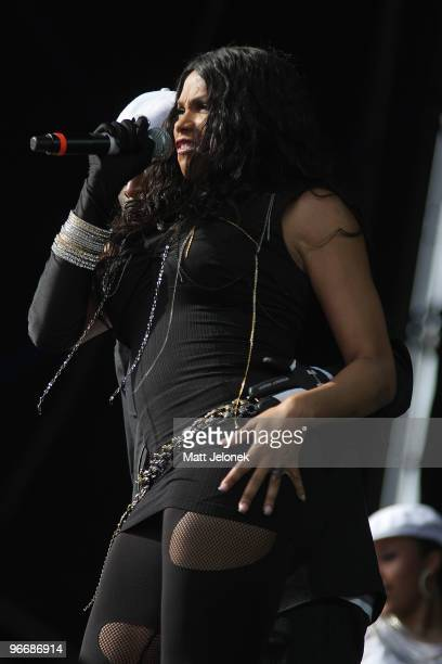 Sandra Denton of Salt N Pepa performs on stage at the Perth leg of the Good Vibrations festival at Claremont Showgrounds on February 14 2010 in Perth...