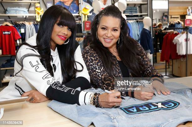 Sandra Denton Pepa and Cheryl James Salt of Salt n Peppa visit Extra at The Levi's Store Times Square on April 18 2019 in New York City