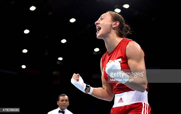 Sandra Drabik of Poland celebrates victory over Saiana Sagataeva of Russia in the Women's Boxing Flyweight Semi Final during day twelve of the Baku...