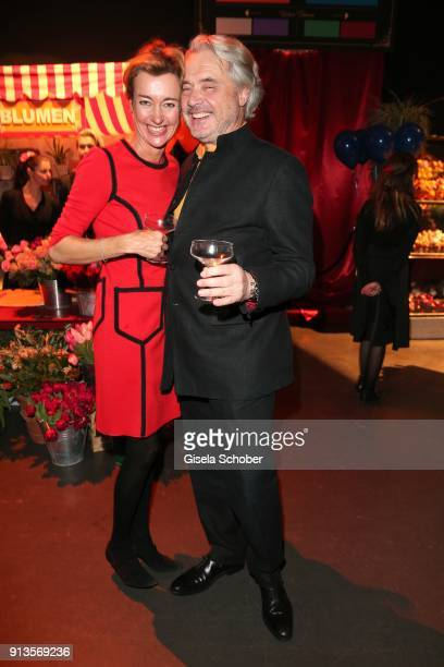Sandra Erdmann and Conrado Dornier during Michael Kaefer's 60th birthday celebration at Postpalast on February 2 2018 in Munich Germany