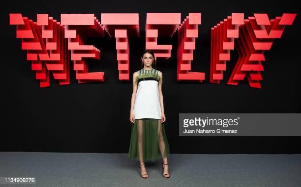 Sandra Escacena attends the red carpet during the Netflix presentation party at the Invernadero del Palacio de Cristal de la Arganzuela on April 4...