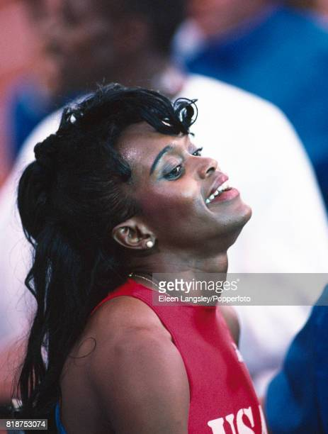 Sandra FarmerPatrick of the USA gold medallist in the women's 400 metres hurdles during the Goodwill Games in Seattle Washington circa July 1990