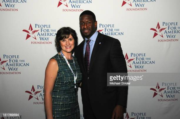 Sandra Fluke and People For The American Way Foundation's Andrew Gillum attend People For The American Way Foundation Celebrate At The DNC on...