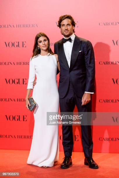Sandra Gago and Feliciano Lopez attends Vogue 30th Anniversary Party at Casa Velazquez on July 12 2018 in Madrid Spain