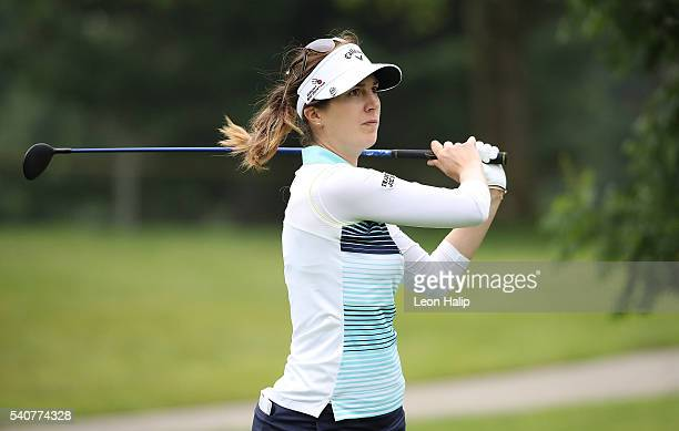 Sandra Gal hits her tee shot on the 18th hole during the first round of the Meijer LPGA Classic on June 16 2016 at the Blythefield Country Club in...
