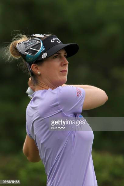Sandra Gal of Cologne Germany follows her shot from the 10th tee during the third round of the Meijer LPGA Classic golf tournament at Blythefield...