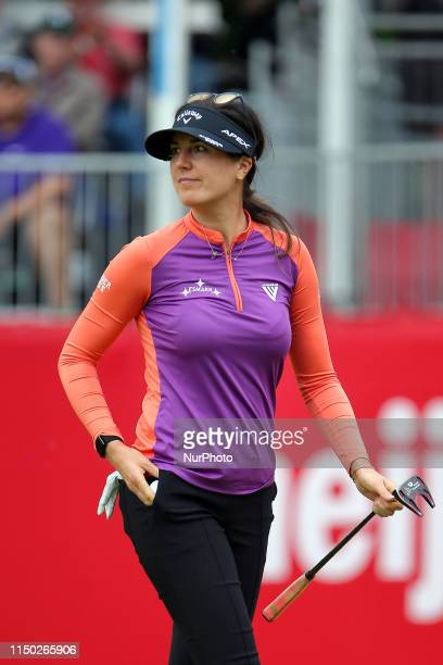 Sandra Gal of Dusseldorf Germany walks off the course after completing the 18th hole during the second round of the Meijer LPGA Classic golf...