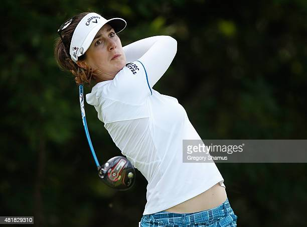 Sandra Gal of Gemany watches her drive on the eighth hole during the second round of the Meijer LPGA Classic presented by Kraft at Blythefield...