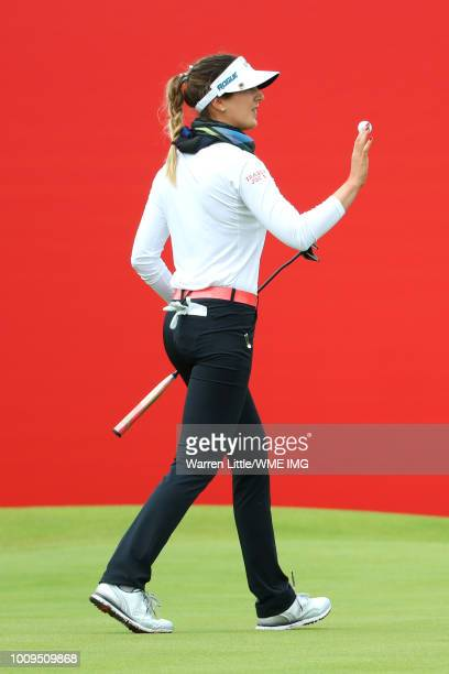 Sandra Gal of Germany acknowledges the crowd on the 18th green during the first round of the Ricoh Women's British Open at Royal Lytham St Annes on...