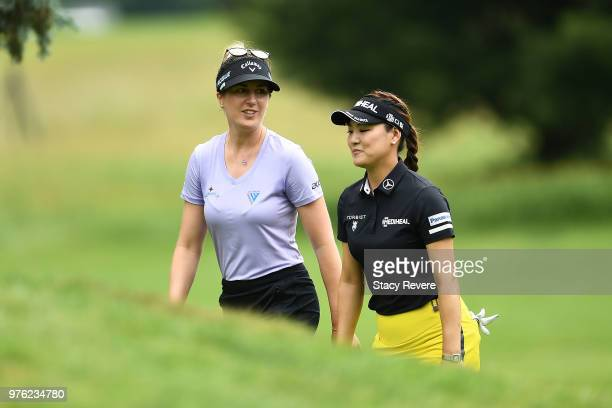 Sandra Gal of Germany and So Yeon Ryu of South Korea walk to the third tee during the third round of the Meijer LPGA Classic for Simply Give at...