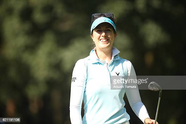 Sandra Gal of Germany celebrates after chipping in her second shot on the 7th hole during the second round of the TOTO Japan Classics 2016 at the...