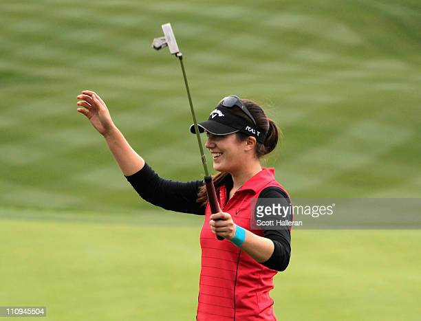 Sandra Gal of Germany celebrates on the 18th green after winning the Kia Classic on March 27 2011 at the Industry Hills Golf Club in the City of...