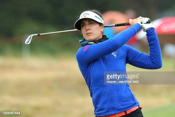 Sandra Gal of Germany hits her second shot on the 14th hole during the first round of the Ricoh Women's British Open at Royal Lytham St Annes on...
