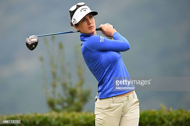 Sandra Gal of Germany hits her tee shot on the 12th hole during the second round of the TOTO Japan Classics 2015 at the Kintetsu Kashikojima Country...