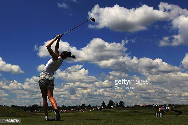 Sandra Gal of Germany hits her tee shot on the 14th hole in the third round of the Manulife Financial LPGA Classic at Grey Silo Golf Course on June...