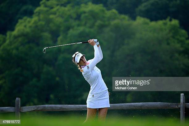 Sandra Gal of Germany hits her tee shot on the sixth hole during the second round of the KPMG Women's PGA Championship held at Westchester Country...