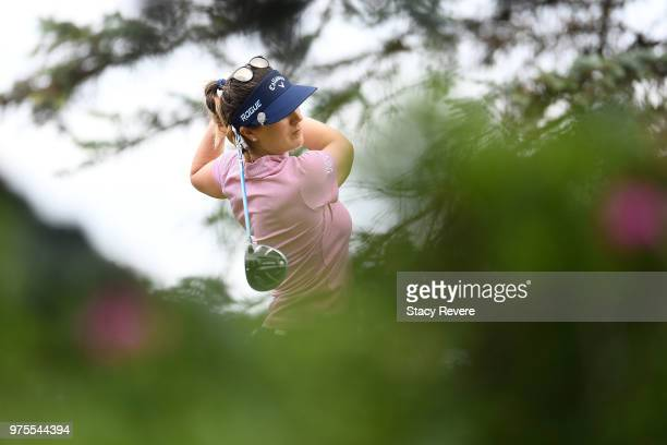 Sandra Gal of Germany hits her tee shot on the third hole during the second round of the Meijer LPGA Classic for Simply Give at Blythefield Country...