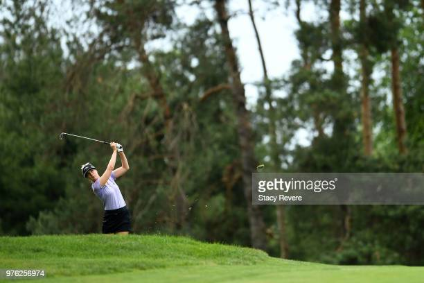 Sandra Gal of Germany hits her third shot on the first hole during the third round of the Meijer LPGA Classic for Simply Give at Blythefield Country...