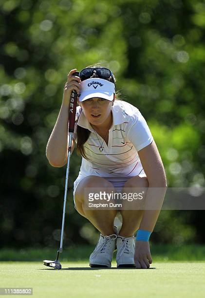 Sandra Gal of Germany lines up a putt on the 15th hole during the second round of the Kraft Nabisco Championship at Mission Hills Country Club on...