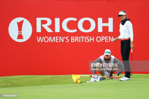 Sandra Gal of Germany lines up a putt on the 18th green during the first round of the Ricoh Women's British Open at Royal Lytham St Annes on August 2...