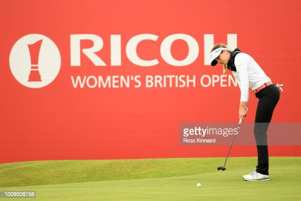 Sandra Gal of Germany plays a putt on the 18th hole during day one of Ricoh Women's British Open at Royal Lytham St Annes on August 2 2018 in Lytham...