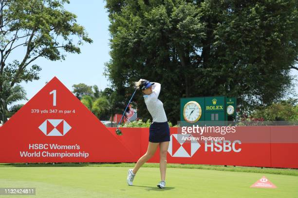 Sandra Gal of Germany plays a shot from the first tee during the proam prior to the HSBC Women's World Championship at Sentosa Golf Club on February...