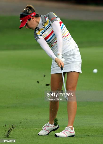 Sandra Gal of Germany plays her 2nd shot on the 3rd hole during day two of the Sime Darby LPGA Malaysia at Kuala Lumpur Golf Country Club on October...