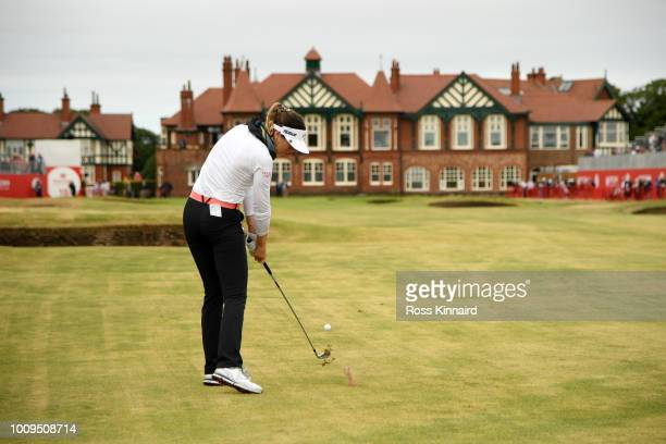 Sandra Gal of Germany plays her second shot on the 18th hole during day one of Ricoh Women's British Open at Royal Lytham St Annes on August 2 2018...