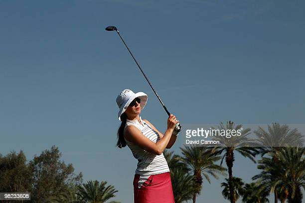 Sandra Gal of Germany plays her tee shot at the 16th hole during the third round of the 2010 Kraft Nabisco Championship on the Dinah Shore Course at...