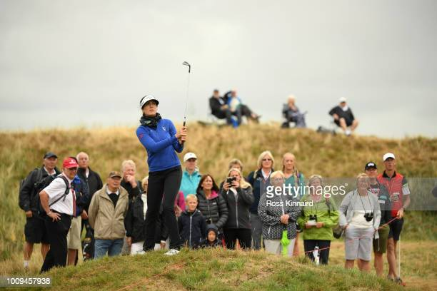 Sandra Gal of Germany plays her third shot on the 15th hole during day one of Ricoh Women's British Open at Royal Lytham St Annes on August 2 2018 in...