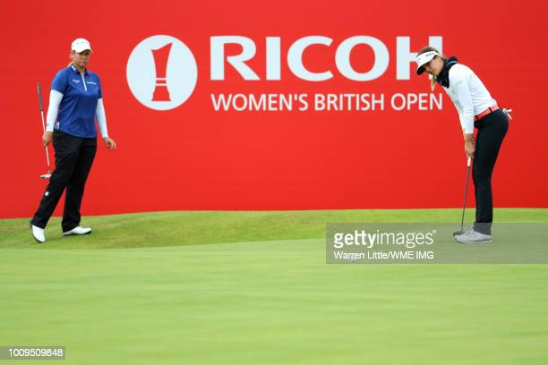 Sandra Gal of Germany putts on the 18th green during the first round of the Ricoh Women's British Open at Royal Lytham St Annes on August 2 2018 in...
