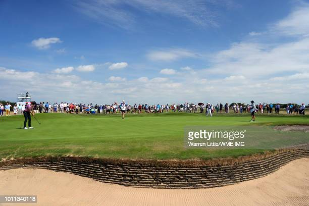 Sandra Gal of Germany putts on the 2nd green during the final round of the Ricoh Women's British Open at Royal Lytham St Annes on August 5 2018 in...
