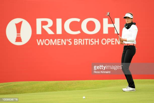 Sandra Gal of Germany reacts after a putt on the 18th hole during day one of Ricoh Women's British Open at Royal Lytham St Annes on August 2 2018 in...