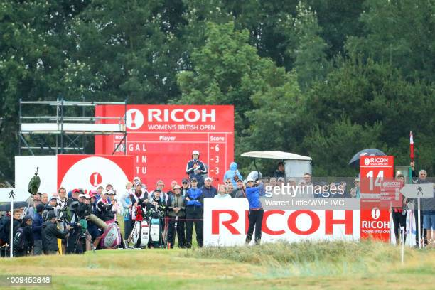 Sandra Gal of Germany tees off on the 14th hole during the first round of the Ricoh Women's British Open at Royal Lytham St Annes on August 2 2018 in...