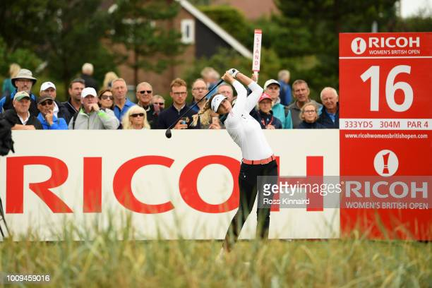 Sandra Gal of Germany tees off on the 16th hole during day one of Ricoh Women's British Open at Royal Lytham St Annes on August 2 2018 in Lytham St...