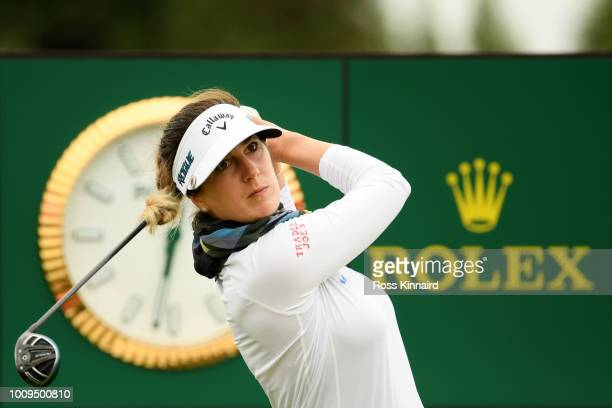 Sandra Gal of Germany tees off on the 18th hole during day one of Ricoh Women's British Open at Royal Lytham St Annes on August 2 2018 in Lytham St...