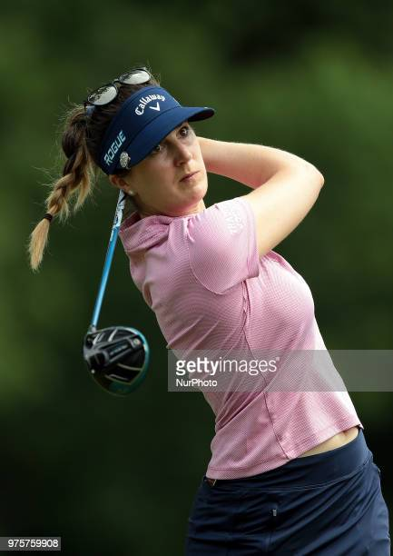 Sandra Gal of Germany tees off on the 5th tee during the second round of the Meijer LPGA Classic golf tournament at Blythefield Country Club in...