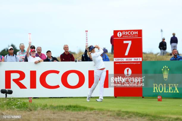 Sandra Gal of Germany tees off on the 7th hole during the third round of the Ricoh Women's British Open at Royal Lytham St Annes on August 4 2018 in...