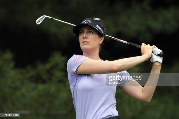 Sandra Gal of Germany tees off on the second tee during the third round of the Meijer LPGA Classic golf tournament at Blythefield Country Club in...